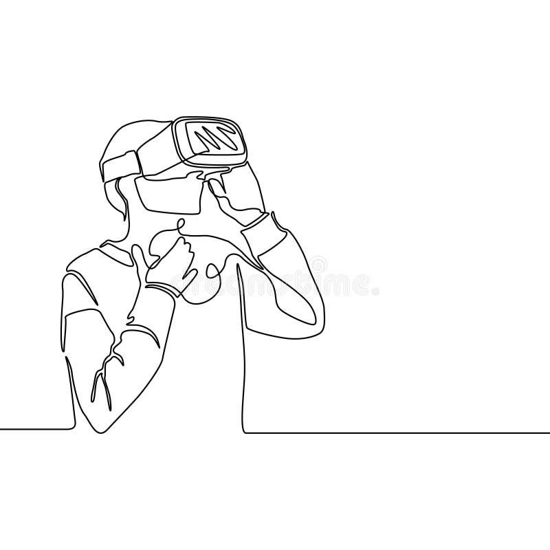 Ononderbroken lijn verraste Vrouw met VR-glazen Vector illustratie stock illustratie