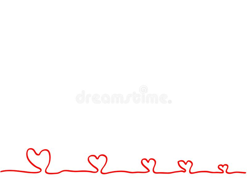 Ononderbroken lijnhand die het rode element van het hartenteken trekken stock afbeeldingen