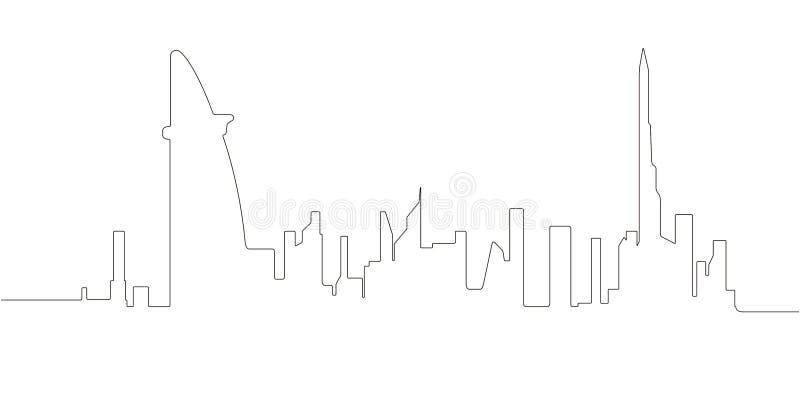 Ononderbroken lijnhorizon van Doubai vector illustratie