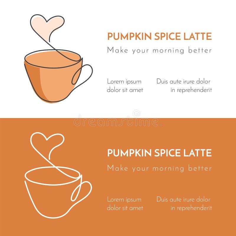 Ononderbroken lijnkop van hete thee of koffie met stoom in vorm van hart en bruine decoratie royalty-vrije illustratie