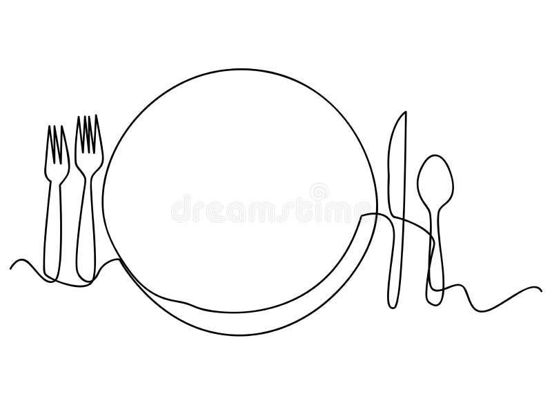 Ononderbroken lijnkunst of Één Lijntekening van plaat, khife en vork lineaire stijl en Hand getrokken Vectorillustraties stock illustratie