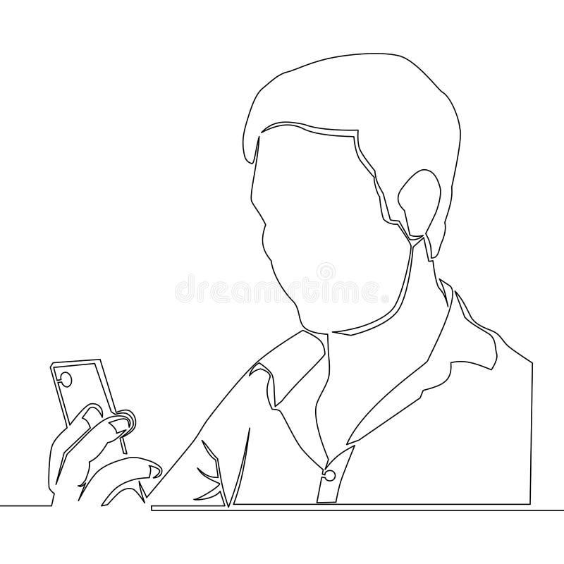 Ononderbroken lijnmens die een smartphone gebruiken stock illustratie
