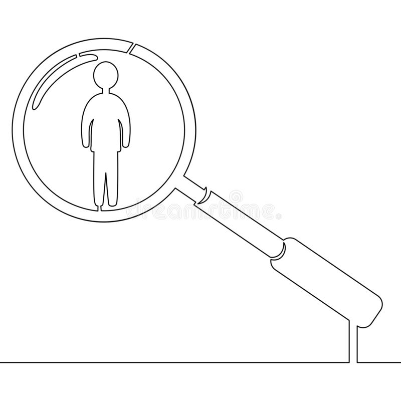 Ononderbroken lijnmens in meer magnifier u-concept stock illustratie