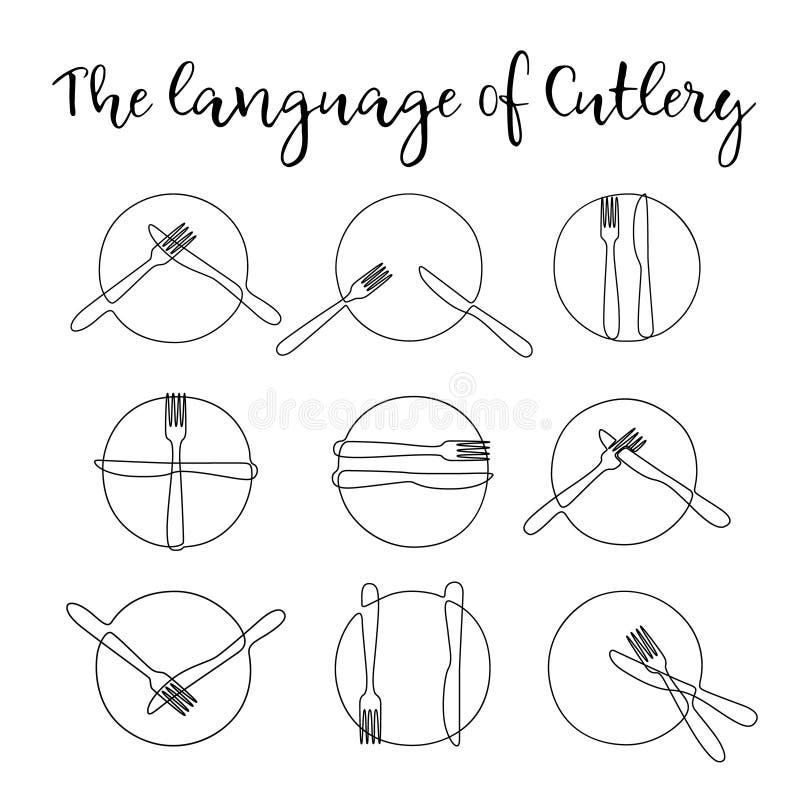 Ononderbroken lijnplaat met vork en mes Tekensbestek vector illustratie