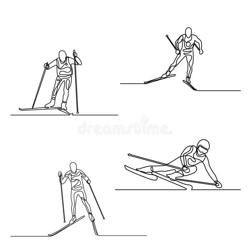 Ononderbroken lijnreeks Skiërs ??n lijntekening Vector royalty-vrije illustratie