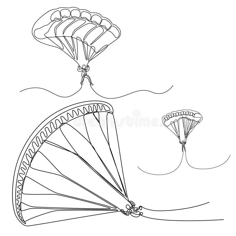 Ononderbroken lijnreeks van Parachutist, skydivers, Vectorparachutverbindingsdraad stock illustratie