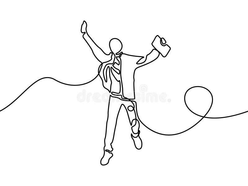 Ononderbroken lijnstudent die voor gelukkig springen Vector illustratie stock illustratie