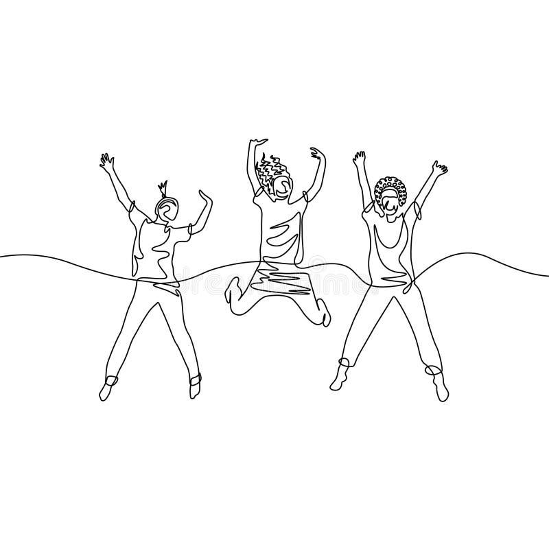 Ononderbroken lijntekening drie springende meisjes stock illustratie