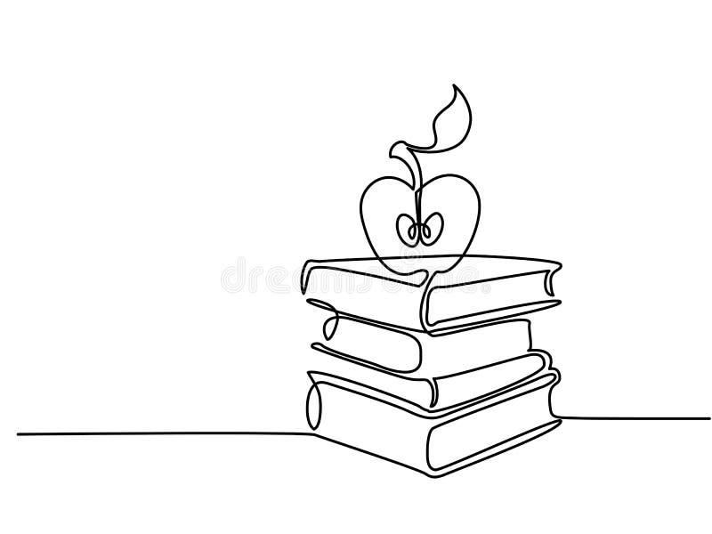 Ononderbroken lijntekening Stapel boeken met appel royalty-vrije illustratie