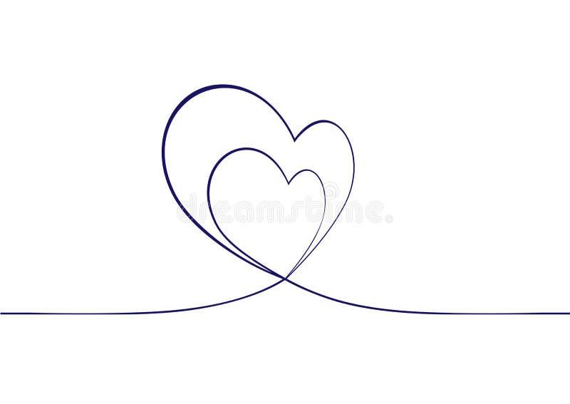 Ononderbroken lijntekening twee harten Ononderbroken Tekening van Harten op witte achtergrond De achtergrond van het hart stock illustratie