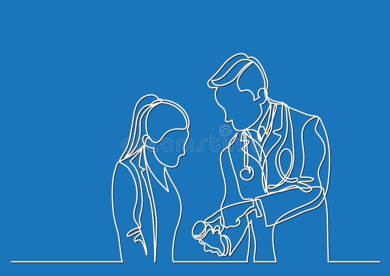 Ononderbroken lijntekening van arts en patiënt die over medicijn spreken stock illustratie