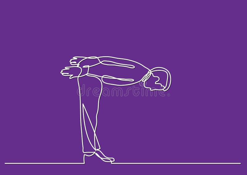 Ononderbroken lijntekening van bedrijfspersoon - stokvoering neer vector illustratie