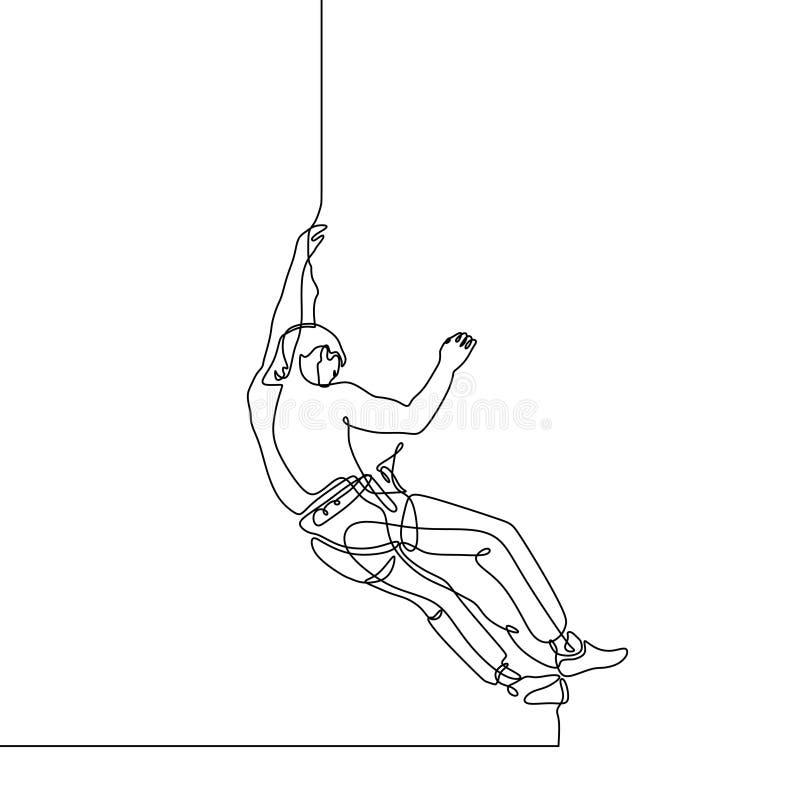 Ononderbroken lijntekening van bergbeklimmingssport De persoon beklimt omhoog over muur royalty-vrije illustratie