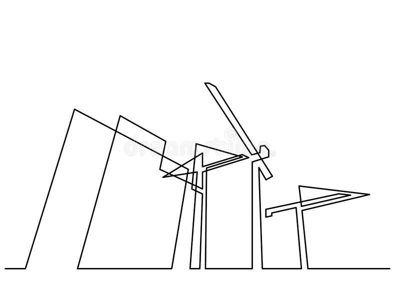 Ononderbroken lijntekening van bouwgebouwen met kranen stock illustratie