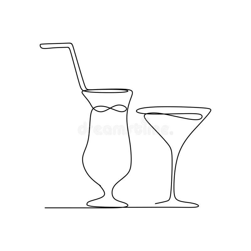 ononderbroken lijntekening van de dranken van het de zomerjus d'orange royalty-vrije illustratie