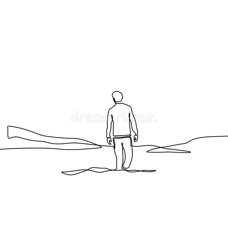 Ononderbroken lijntekening van de eenzame mens op het ontwerp van valleiminimalism op witte achtergrond Concept alleen persoon in vector illustratie