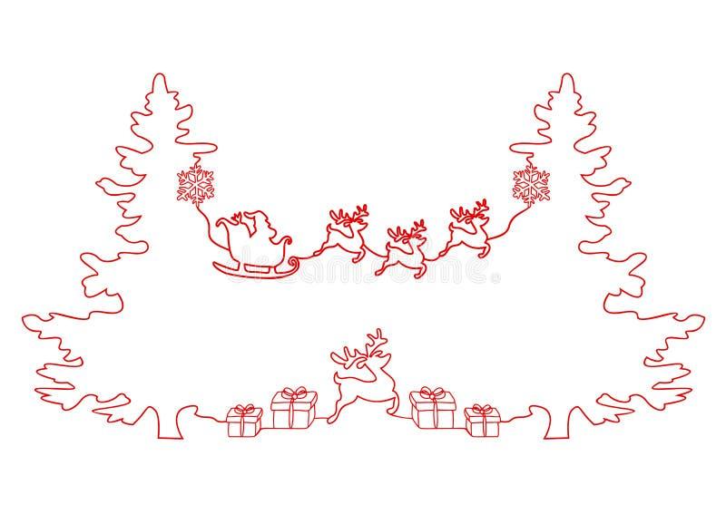 Ononderbroken lijntekening van een Kerstmisvakantie, Santa Claus op een ar, herten, Kerstboom, Sneeuwvlokken, Giften vector illustratie