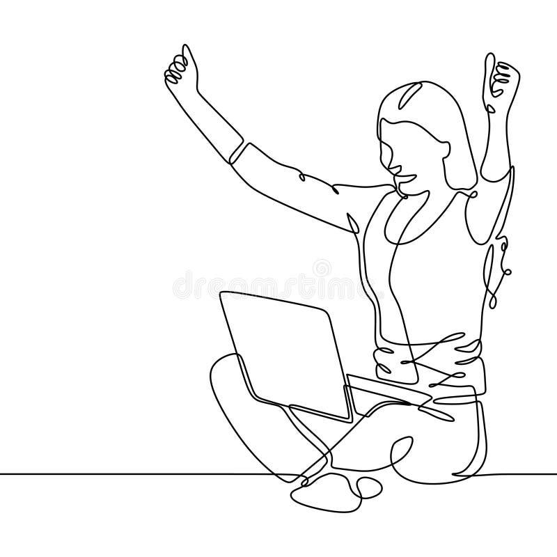 Ononderbroken lijntekening van een meisje met laptop De vrouw die haar handen opheffen tot toont gelukkig en viering na het beëin royalty-vrije illustratie
