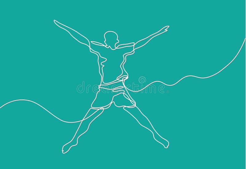 Ononderbroken lijntekening van gelukkige kerel vector illustratie