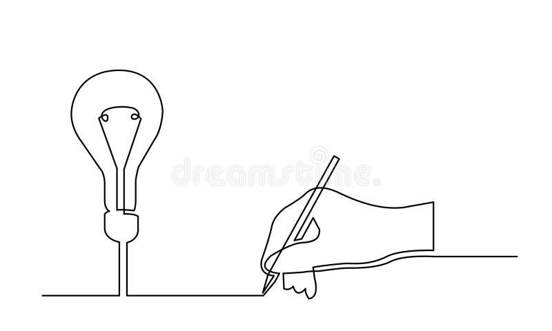 Ononderbroken lijntekening van hand die tot een nieuw idee leiden royalty-vrije illustratie