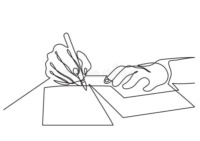 Ononderbroken lijntekening van handen die brief schrijven vector illustratie