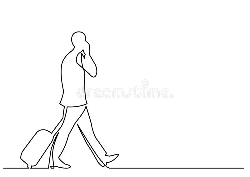 Ononderbroken lijntekening van het reizende zakenman lopen stock illustratie