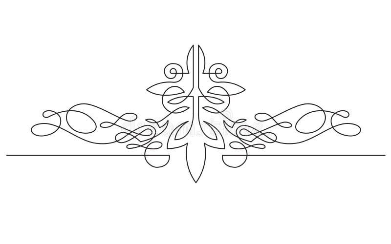Ononderbroken lijntekening van het symmetrische ontwerp van de vignetbanner vector illustratie