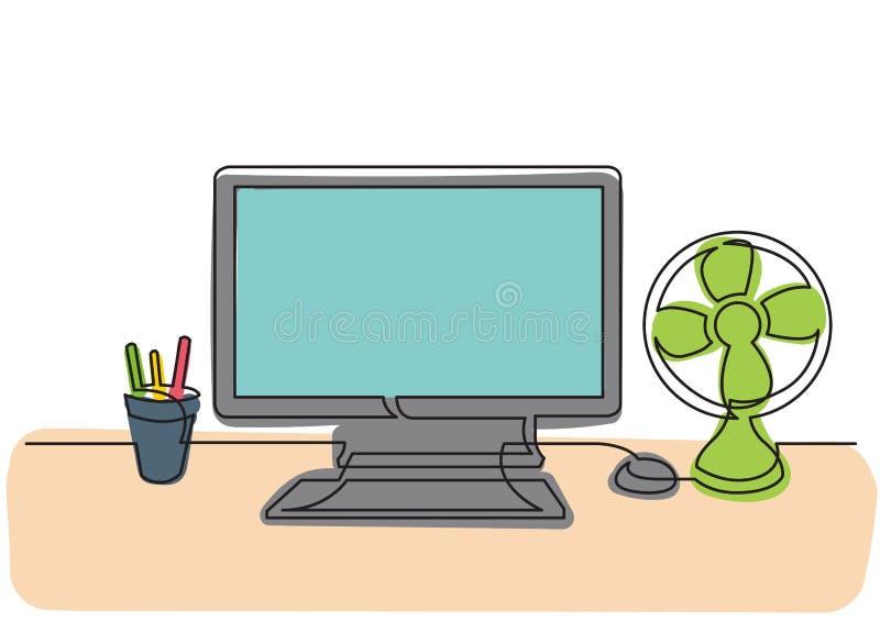 Ononderbroken lijntekening van het werkbureau met computer en koelventilator royalty-vrije illustratie