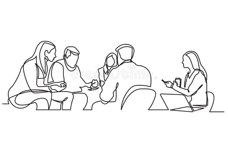 Ononderbroken lijntekening van het werkteam die vergadering hebben royalty-vrije illustratie