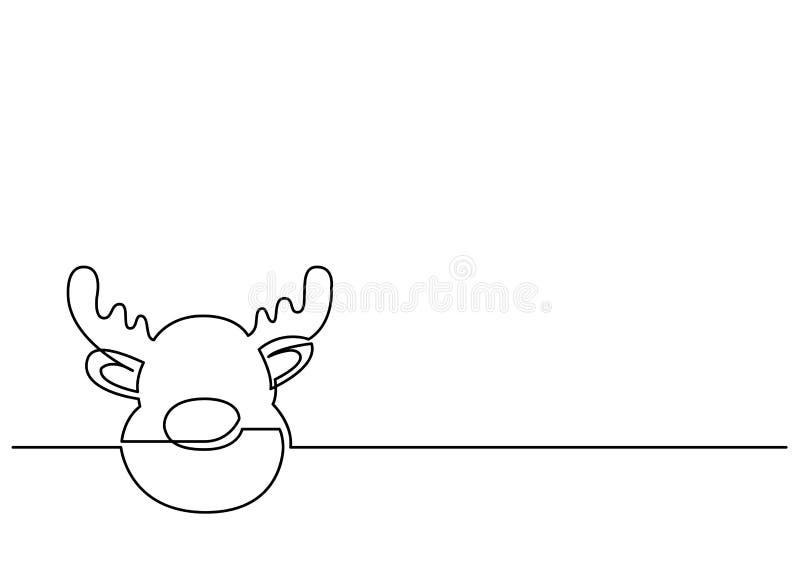 Ononderbroken lijntekening van Kerstmis Rudolph Reindeer stock illustratie