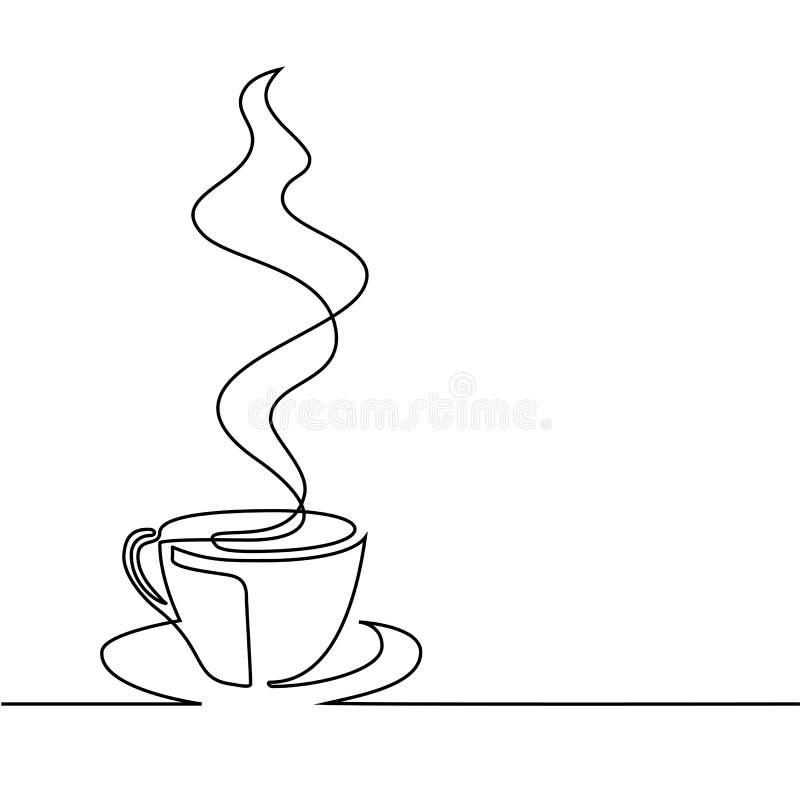 Ononderbroken lijntekening van kop van koffie royalty-vrije illustratie