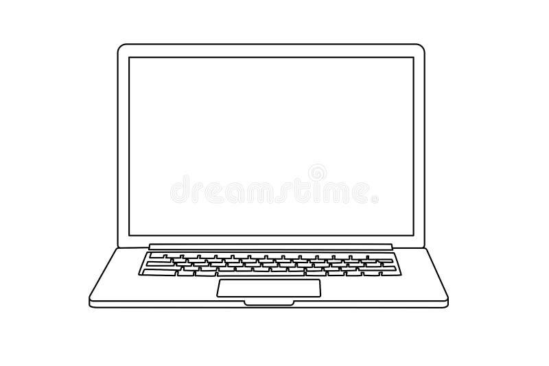 Ononderbroken lijntekening van laptop stock afbeelding
