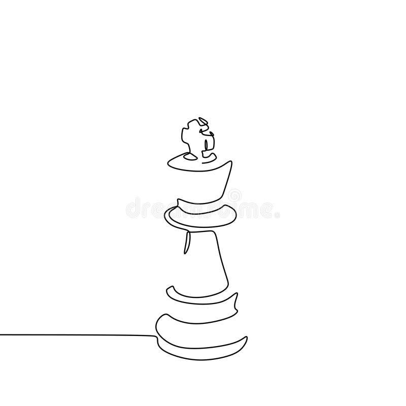 Ononderbroken lijntekening van minimalismteken van het koningsschaak van hoofdconcept stock illustratie