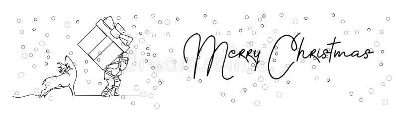 Ononderbroken lijntekening van Santa Claus-zitting op een ar met rendier Vector eenvoudige illustratie Vrolijke Kerstmis vector illustratie