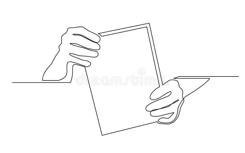Ononderbroken lijntekening van twee handen die leeg blad van document houden stock illustratie