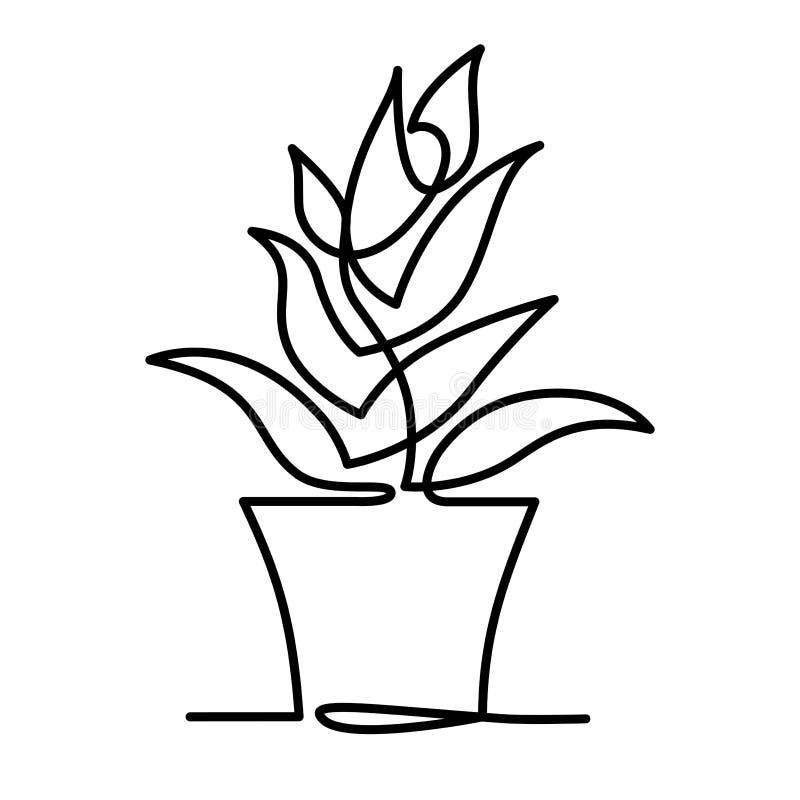 Ononderbroken Lijntekening van Vector het embleempictogram van Aloëvera voor het natuurlijke etiket van het biologisch productpak royalty-vrije illustratie