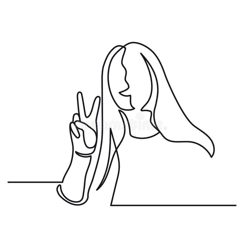 Ononderbroken Lijntekening van Vectorteken van overwinning Het gebaar van hand één lijn Het meisje toont Twee omhoog opgeheven vi vector illustratie