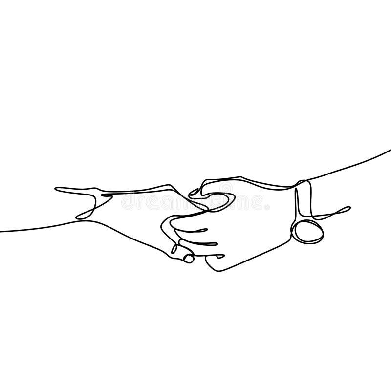 Ononderbroken lijntekeningen van handen het samenhouden royalty-vrije illustratie