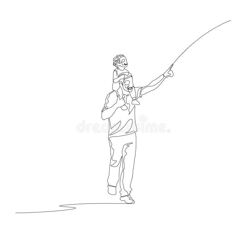 Ononderbroken lijnvader met omhoog zoon op zijn vinger van schouderspunten stock illustratie