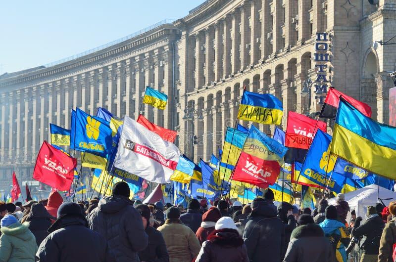 Ononderbroken massaprotest in het Oekraïense kapitaal stock afbeelding