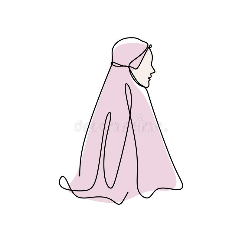 Ononderbroken men lijntekening van vrouwen of meisje die Islamitische headscarf dragen riep hijab Modieus stijl moslimmeisje vector illustratie