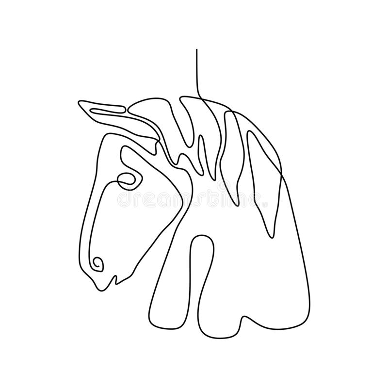 Ononderbroken van het het hoofd de minimalistische ontwerp van het lijnpaard stijl van de illustratieminimalism vector vector illustratie