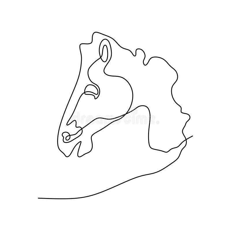 Ononderbroken van het het hoofd de minimalistische ontwerp van het lijnpaard stijl van de illustratieminimalism vector royalty-vrije illustratie