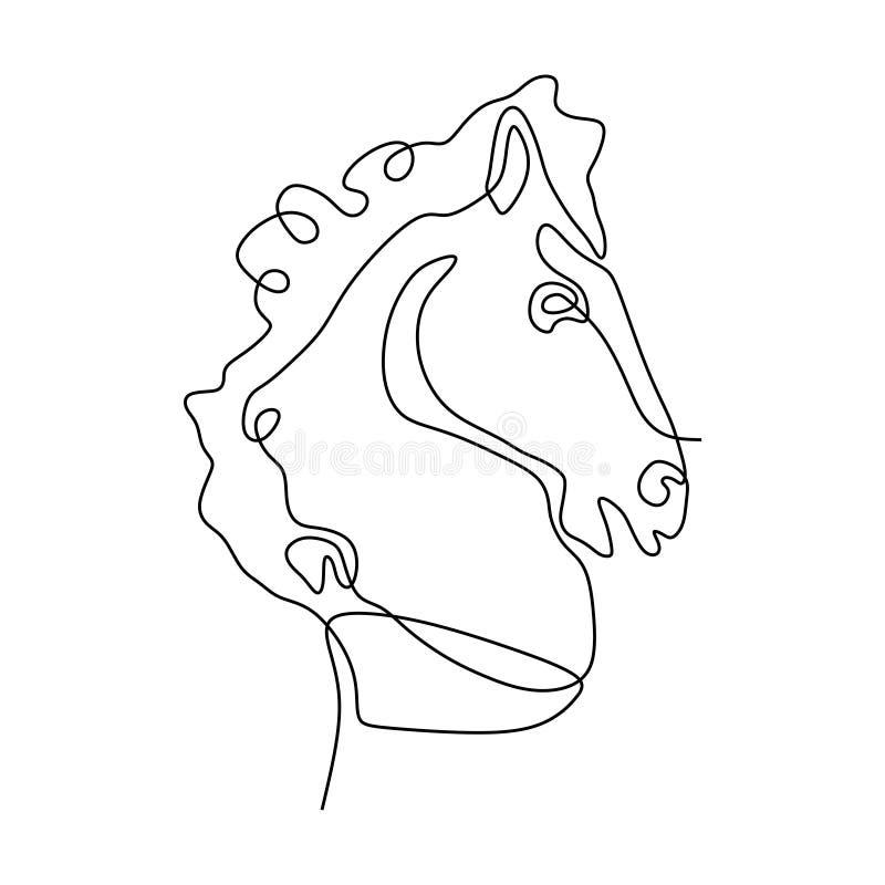 Ononderbroken van het het hoofd de minimalistische ontwerp van het lijnpaard stijl van de illustratieminimalism vector stock illustratie