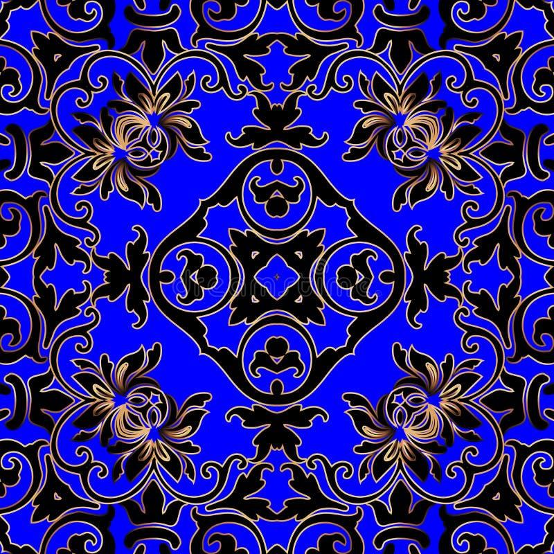 Ononderbroken vector naadloos patroon Ornate blue floral background Mooie herhalingsachtergrond Damask Baroque Victorian royalty-vrije illustratie