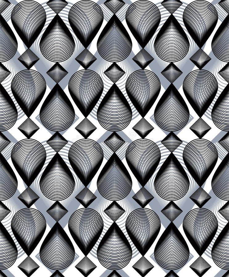 Ononderbroken vectorpatroon met grafische lijnen, decoratieve abstrac royalty-vrije illustratie
