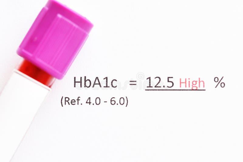 Onormalt på hög nivå HbA1c-provresultat arkivbilder