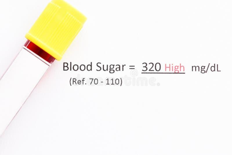 Onormalt på hög nivå resultat för prov för blodsocker royaltyfria foton