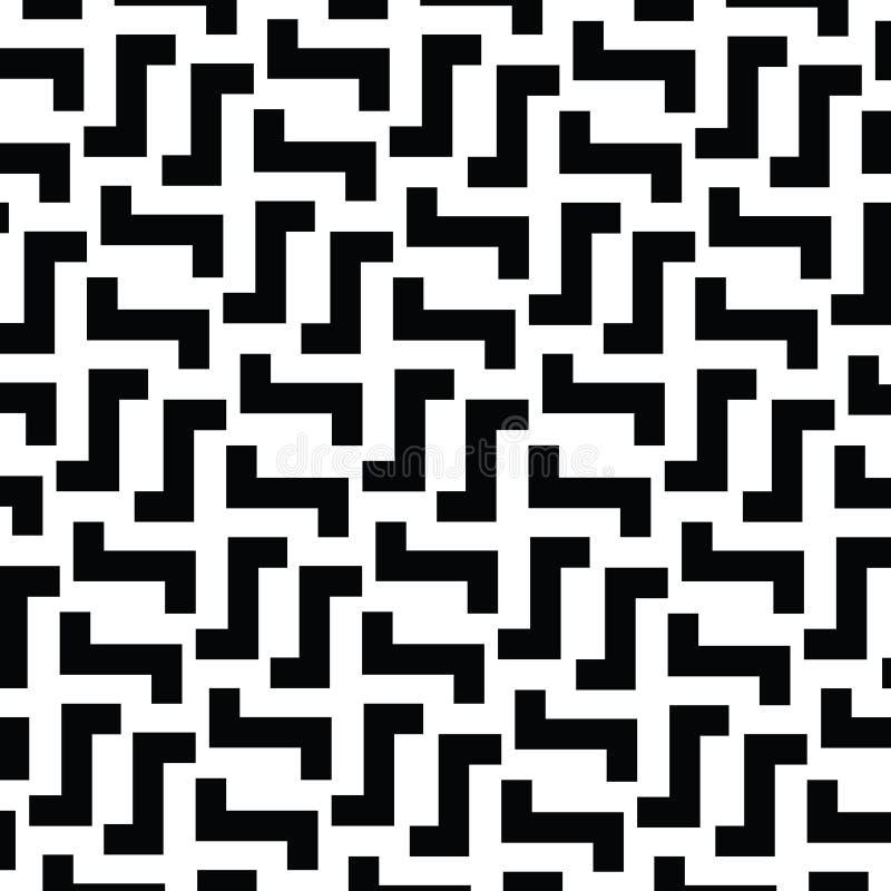 Onregelmatig Maze Lines Vector zwart-wit patroon vector illustratie