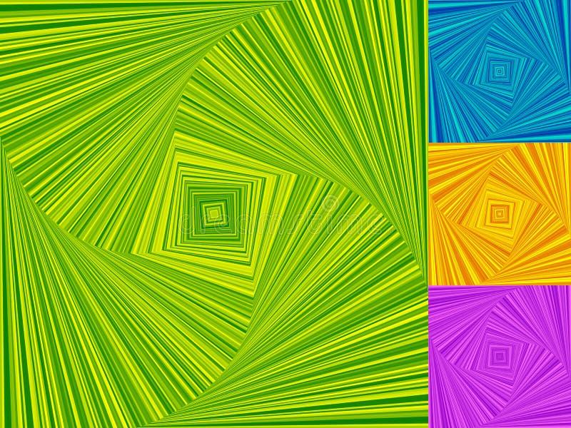 Onregelmatige die spiralen van vierkanten worden gemaakt Het roteren, asymmetrisch wervelen royalty-vrije illustratie